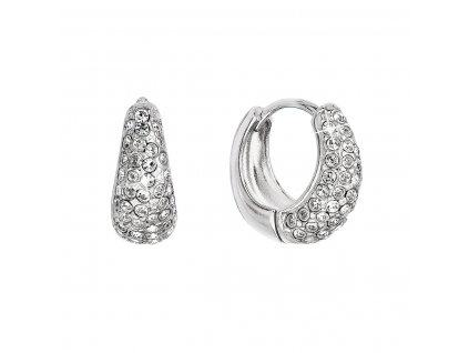 Stříbrné náušnice kruhy se Swarovski krystaly bílé 31306.1