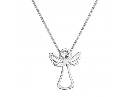 Stříbrný náhrdelník anděl se Swarovski krystalem 32080.1 bílý