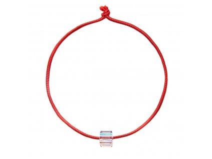 Kabbalah náramek proti uhranutí červený se Swarovski krystalem 33118.2 ab efekt kostička