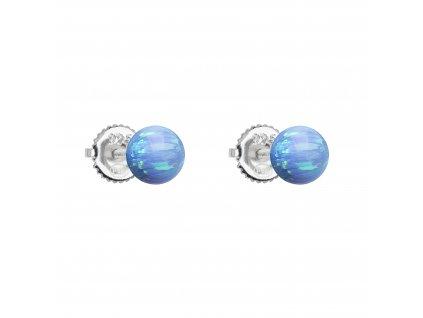 Stříbrné náušnice pecky se syntetickým opálem světle modré kulaté 11246.3 lt.blue