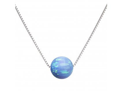 Stříbrný náhrdelník se syntetickým opálem světle modrý kulatý 12044.3 lt.blue