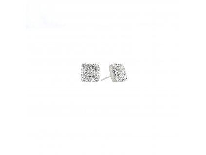 Stříbrné náušnice pecky s krystaly Swarovski bílý čtverec 71138.1
