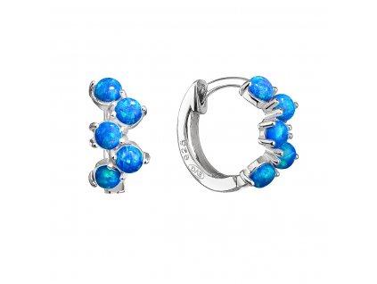 Stříbrné náušnice kruhy se syntetickými opály modré 11339.3