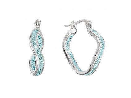 Stříbrné náušnice vlnkové kruhy s krystaly Preciosa modré 31219.3 aqua