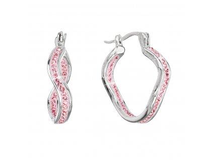 Stříbrné náušnice vlnkové kruhy s krystaly Preciosa růžové 31219.3 lt.rose