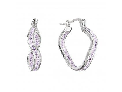 Stříbrné náušnice vlnkové kruhy s krystaly Preciosa fialová 31219.3 violet