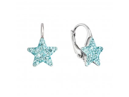 Stříbrné náušnice visací s Preciosa krystaly modré hvězdičky 31311.3 aqua
