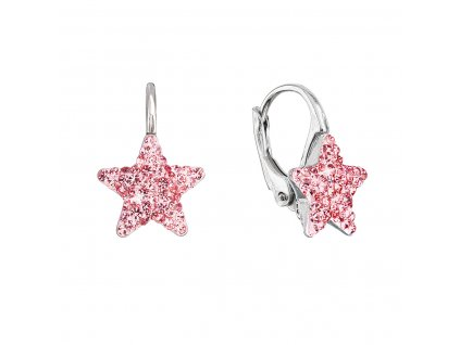 Stříbrné náušnice visací s Preciosa krystaly růžové hvězdičky 31311.3 lt.rose