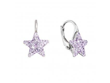Stříbrné náušnice visací s Preciosa krystaly fialové hvězdičky 31311.3 violet