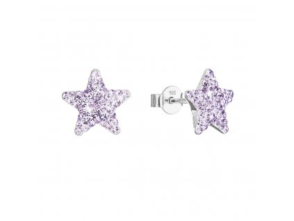 Stříbrné náušnice pecky s Preciosa krystaly fialové hvězdičky 31312.3 violet