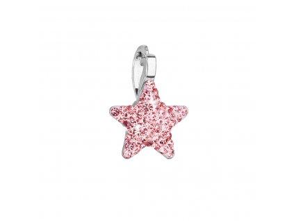 Stříbrný přívěsek s Preciosa krystaly růžová hvězdička 34260.3 lt.rose