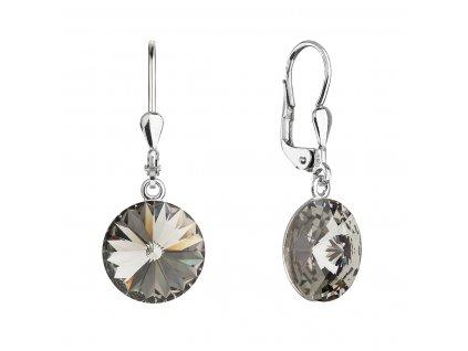 Stříbrné náušnice visací s krystaly Swarovski šedé kulaté 71144.3 bl.diamond