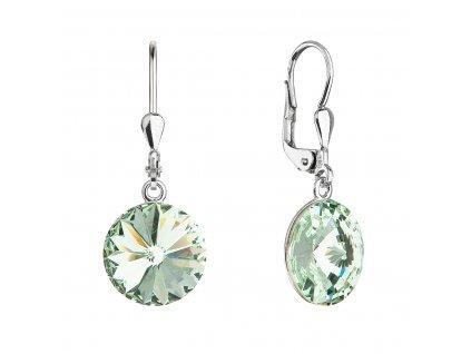 Stříbrné náušnice visací s krystaly Swarovski zelené kulaté 71144.3 chrysolite