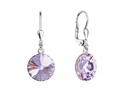 Stříbrné náušnice visací s krystaly Swarovski fialové kulaté 71144.3 violet