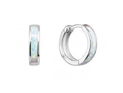 Stříbrné náušnice kruhy se syntetickým opálem bílé 11402.1 white