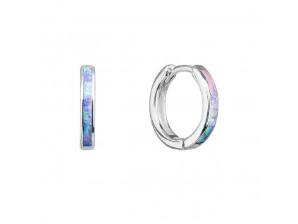 Stříbrné náušnice kroužky se syntetickým opálem duhové 11403.3 rainbow