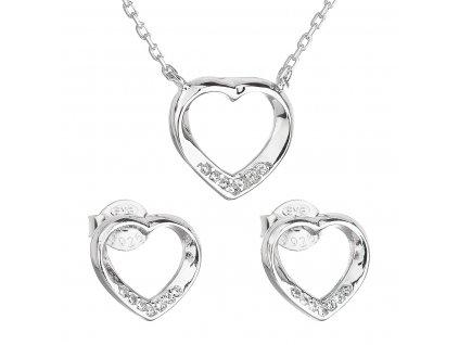 Sada šperků se zirkonem náušnice a náhrdelník bílé srdce 19019.1