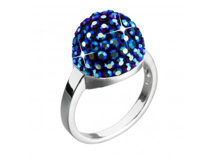 Stříbrný prsten s krystaly modrý 735013.3