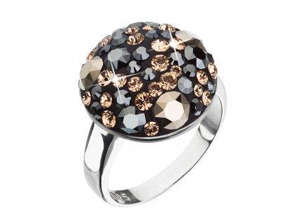 Stříbrný prsten s krystaly Swarovski černo zlatý 35034.4