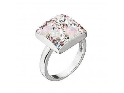 Stříbrný prsten s krystaly Swarovski růžový 35045.3