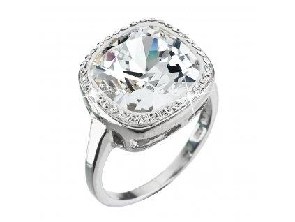 Stříbrný prsten s krystaly Swarovski bílý 35037.1 krystal