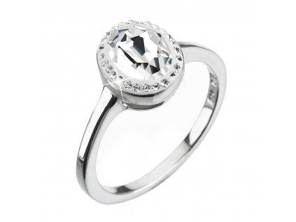 Stříbrný prsten s krystaly Swarovski bílý 35038.1 krystal