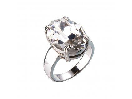 Stříbrný prsten s krystaly bílý 35802.1