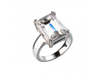 Stříbrný prsten s krystaly bílý 35801.1