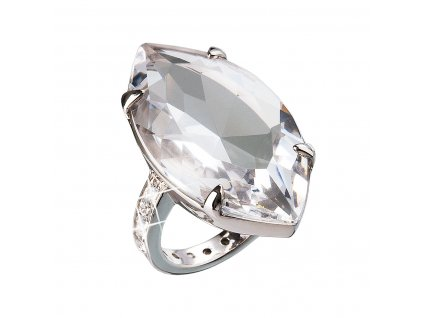 Stříbrný prsten s krystaly bílý 35807.1