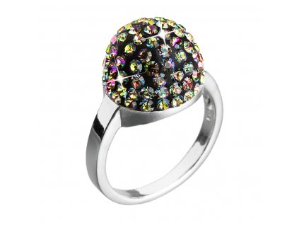 Stříbrný prsten s krystaly zelená boule 735013.5 vitrail medium