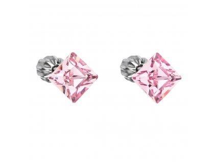 Stříbrné náušnice pecka s krystaly Swarovski růžový čtverec 31065.3