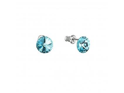 Náušnice bižuterie se Swarovski krystaly modré kulaté 51037.3 turquoise