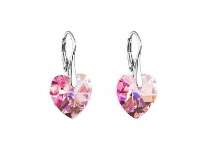 Stříbrné náušnice visací s krystaly Swarovski růžové srdce 31012.4