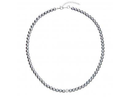 Perlový náhrdelník šedý s krystaly Swarovski 32063.3