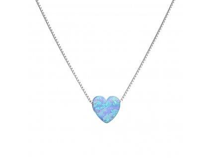 Stříbrný náhrdelník se syntetickým opálem světle modré srdce 12048.3