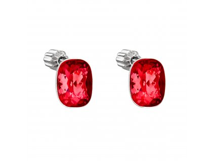 Stříbrné náušnice pecky s krystaly Swarovski červené 71063.3 lt. siam