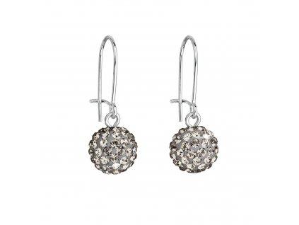 Náušnice bižuterie visací s krystaly kulaté šedé 71119.3 bl.diamond