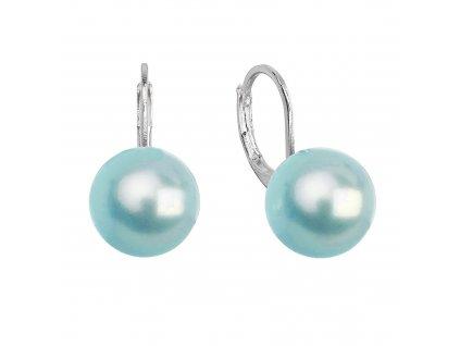 Náušnice bižuterie visací se syntetickou perlou kulaté modré 71122.3 aqua