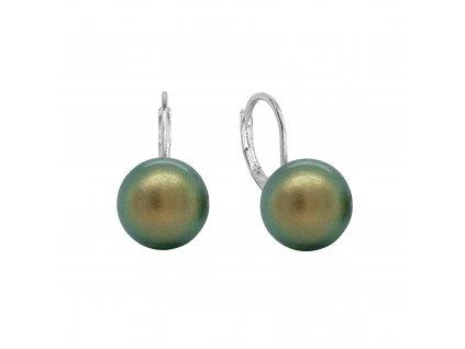 Náušnice bižuterie visací se syntetickou perlou kulaté zelené 71123.3 irie.green