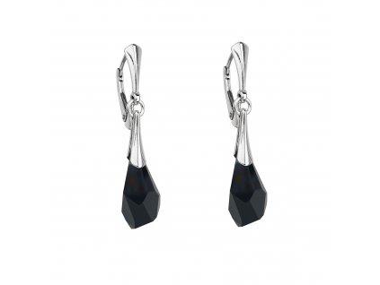 Stříbrné náušnice visací s krystalem Swarovski černé 71140.3 jet