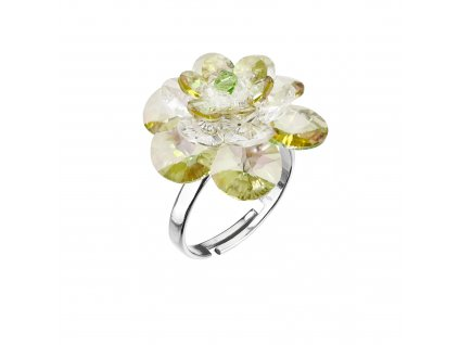 Stříbrný prsten s krystaly zelená kytička 75002.3 lum.green