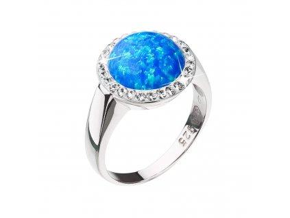 Stříbrný prsten se syntetickým opálem a krystaly Preciosa modrý 35060.1