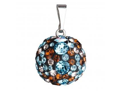 Stříbrný přívěsek s krystaly Swarovski mix barev kulatý 34081.3 aqua