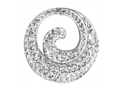 Stříbrný přívěsek s krystaly Swarovski bílý kulatý 34186.1 krystal