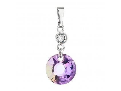 Stříbrný přívěsek s krystaly Swarovski fialový kulatý 34216.5