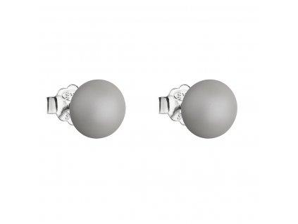 Stříbrné náušnice pecka s perlou Swarovski šedé kulaté 31142.3 pastel grey