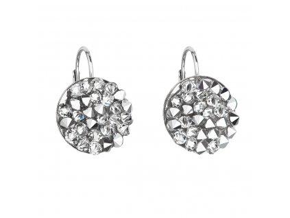 Stříbrné náušnice visací s krystaly Swarovski šedé kulaté 31295.5