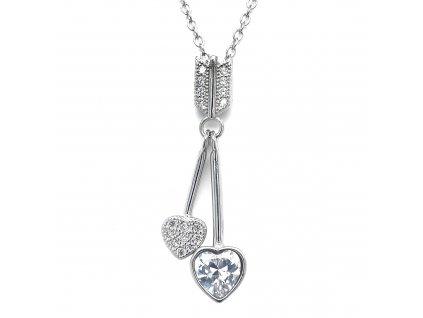 Stříbrný náhrdelník se zirkony dvě srdce bílá 12037.1 crystal