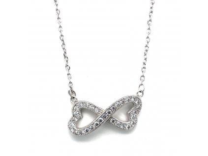 Stříbrný náhrdelník se zirkony dvě srdce v nekonečno spojená bílá 12039.1 crystal