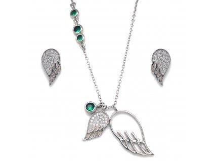 Sada šperků se zirkony náušnice a přívěsek bílá křídla a zelené krystaly 19001.3 emerald